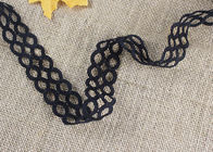Polyester Hollow Out Water Soluble Black Lace Ribbon Trim Double Oval Pattern
