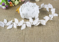 Milk Silk Water Soluble Chemical Polyester Lace Trim For Dresses Feather Pattern