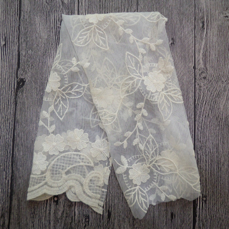 White Embroidered Mesh Ivory Floral Lace Fabric , 130cm Wide Cotton Lace Dress Fabric
